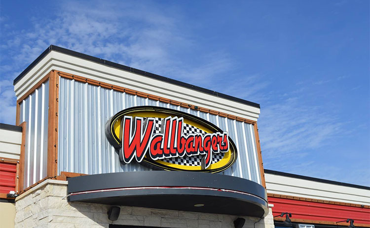 Store sign for the Wallbangers - Burger Bar in McAllen