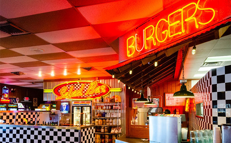 Interior shot of the Wallbangers - Burger Place in Corpus